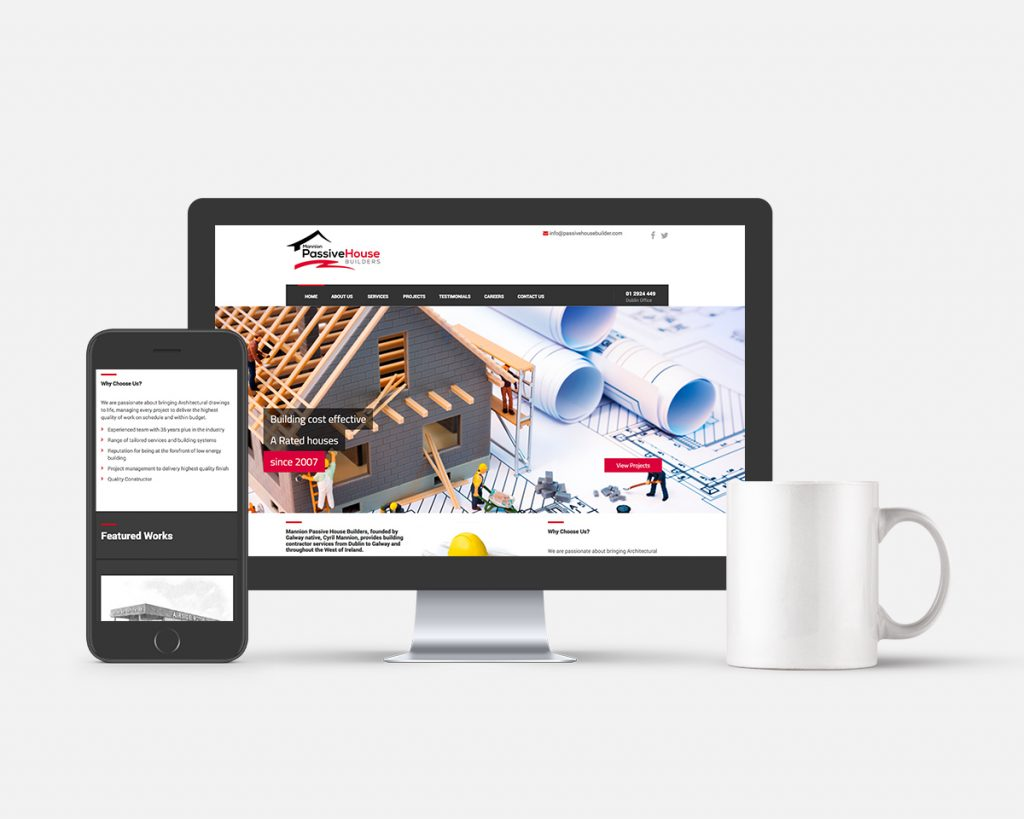 Mannion House Builder, Co Galway Website Design by Pretty Owl Designs