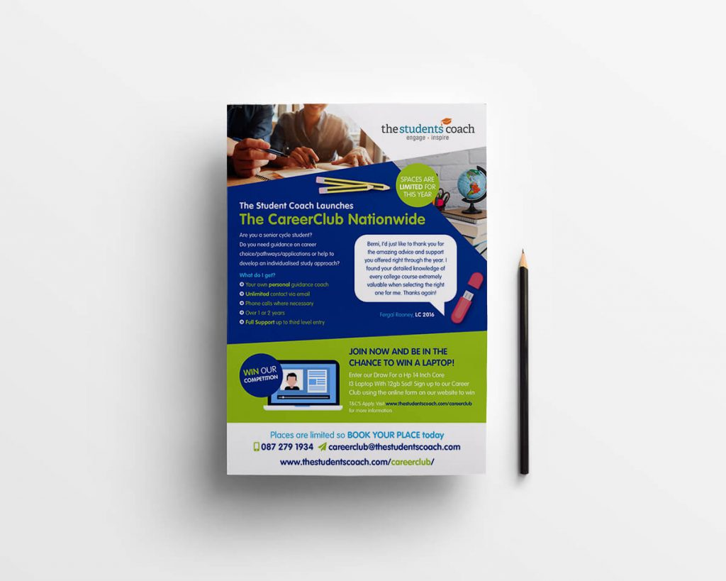 The Students Coach, Donegal, Leaflet Design by Pretty Owl Designs